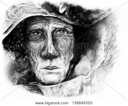 Old story teller telling a faiy tale from an enchanted book, fantasy monochromatic drawing.