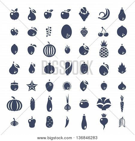 Fresh fruits and vegetables flat silhouettes vector icons set. Farm harvest graphic elements. Exotic tropical citrus symbols. Organic food pictograms. Healthy eating. Vegetarian nutrition products