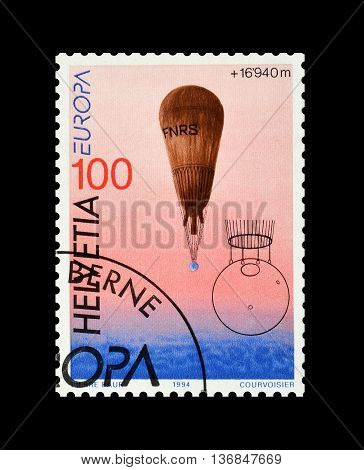 SWITZERLAND - CIRCA 1994 : Cancelled postage stamp printed by Switzerland, that shows Stratosphere balloon.