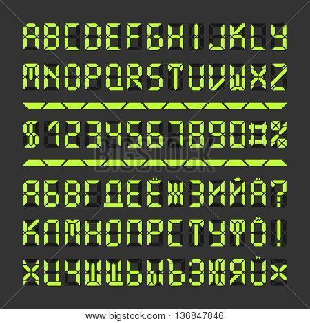 Digital led font letters and numbers. Acid green alphabet on black. Cyrillic vector characters special extension.