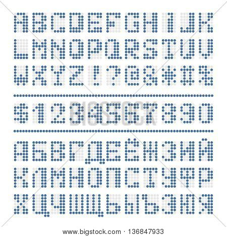 Dotted digital font. Blue alphabet letters and numbers on white. Cyrillic vector dot characters are included.