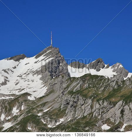 High mountain and travel destination in Appenzell Canton. Mt Santis.