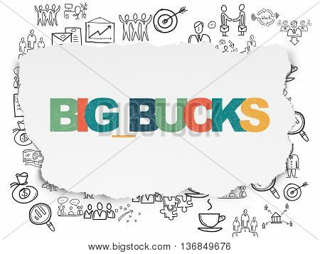 Finance concept: Painted multicolor text Big bucks on Torn Paper background with  Hand Drawn Business Icons