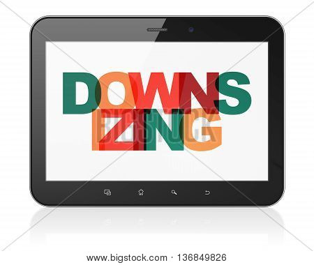 Business concept: Tablet Computer with Painted multicolor text Downsizing on display, 3D rendering