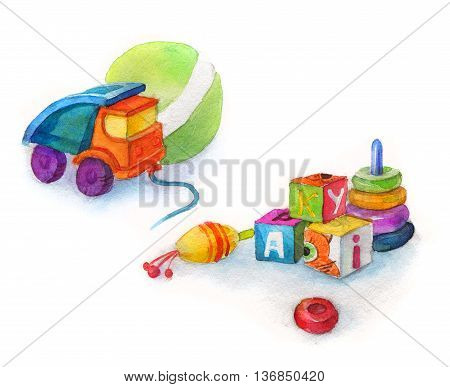 Truck toy car for boy, toys, whirligig, ball and cubes with letters, watercolor isolated
