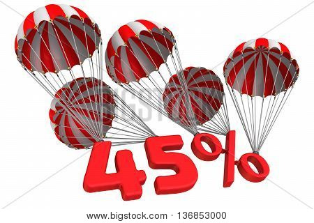 Forty five percent is falling down on parachute. Isolated. 3D Illustration