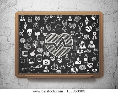 Medicine concept: Chalk White Heart icon on School board background with  Hand Drawn Medicine Icons, 3D Rendering