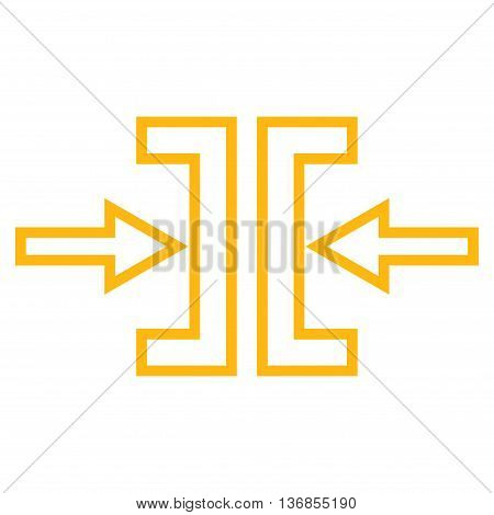Pressure Horizontal vector icon. Style is contour icon symbol, yellow color, white background.