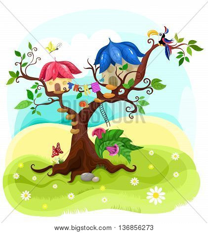 vector illustration with a beautiful magic tree