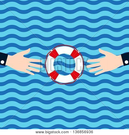 One businessman holds another businessman aid lifeline in times of crisis. Flat tkonka. vector illustration