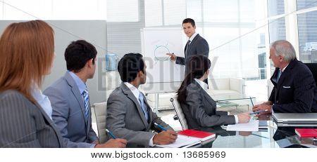Zuversichtlich Manager diskutieren einer neuen Strategie sein Team im Büro