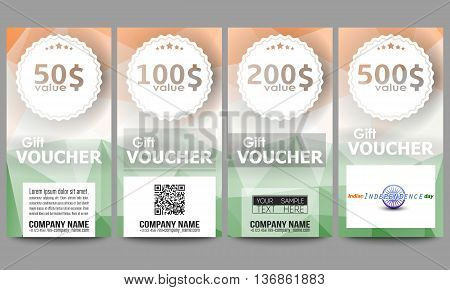 Set of modern gift voucher templates. Background for Happy Indian Independence Day celebration with Ashoka wheel and national flag colors, vector illustration.