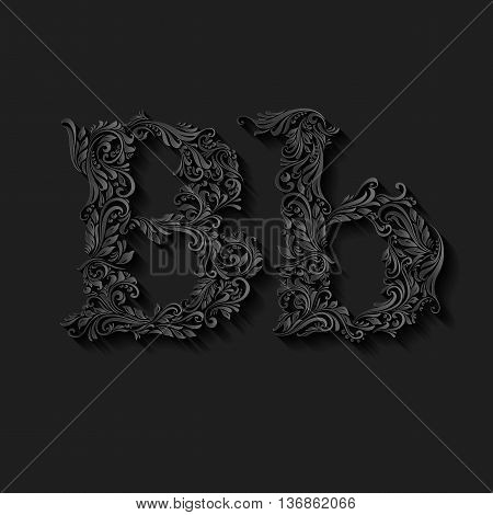 Handsomely decorated letter b in upper and lower case on black