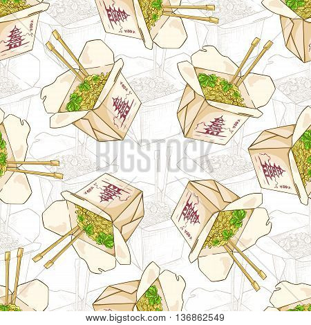 Seamless pattern chinese noodles box scetch and color. Vector illustration, EPS 10