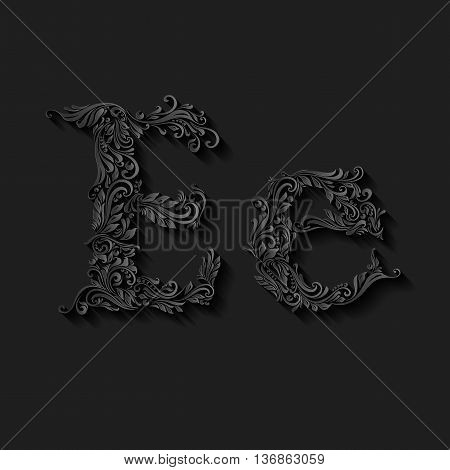 Handsomely decorated letter e in upper and lower case on black