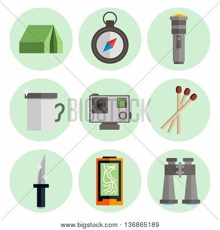 Survival kit icons set. Modern flat design.