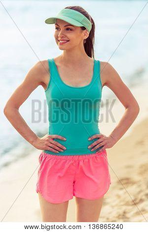 Beautiful Sport Girl On The Beach