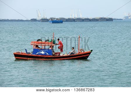 ChonburiThailand. MARCH 29 ;2016. Fishing Boat Rentals for Tourist fishing at Koh Sichang Chonburi Thailand.