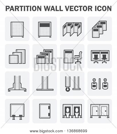 Vector icon set of partition wall for workplace office and toilet.