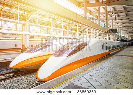 KAOHSIUNG -TAIWAN AUGUST 18 2013: Taiwan High Speed Rail Kaohsiung Station platform August 18 2013 in Kaohsiung Taiwan's high speed railway has become the most important transportation