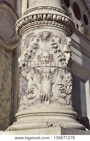 Column with grotesque decoration from renaissance St Mark old School monumental portal (now Venice Civic Hospital)
