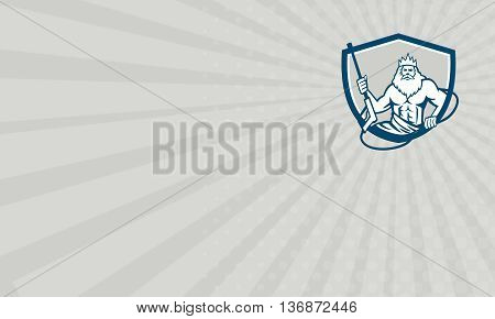 Business card showing illustration of a Neptune roman god of sea holding pressure power washer water blaster viewed from front set inside shield crest on isolated background done in retro style.