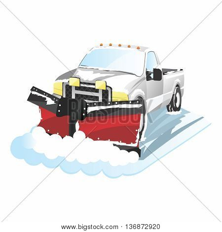 Vector Funny Cartoon Plowing Truck, snow removal