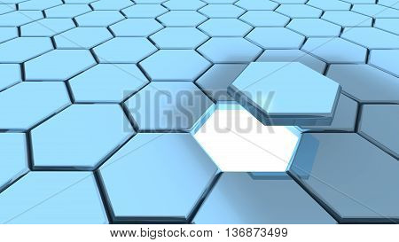 Hexagon grid in blue one piece with flying above reveiling a while glowing hole 3D illustration backdoor concept