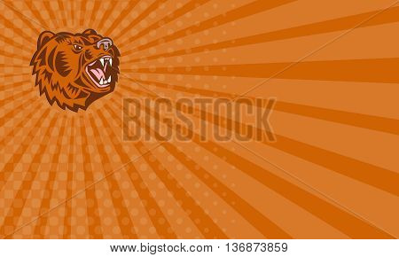 Business card showing illustration of a California grizzly North American brown bear head growling looking to the side done in retro woodcut style set on isolated white background.