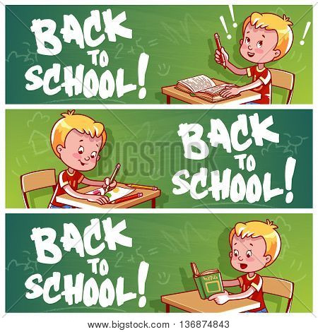 Three horizontal banners with schoolboy. Back to school! Vector template flayer isolated on a white background.
