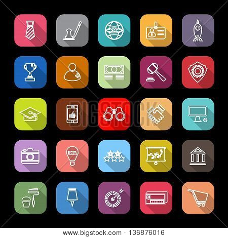 SME line icons with long shadow stock vector