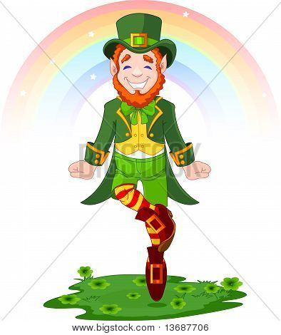 Full length drawing of a leprechaun dancing a jig for St. Patrick's Day poster