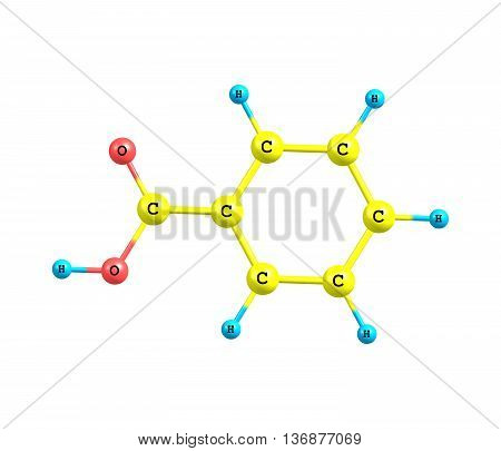 Benzoic acid C7H6O2 is a colorless crystalline solid and a simple aromatic carboxylic acid. 3d illustration