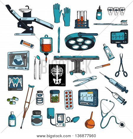 Medical instruments and equipments for surgery, dentistry and general medicine colored sketches with operation table and dentist chair with tools and medicines, blood bag and test tubes, stethoscope and syringes, braces and toothbrush, ecg, ultrasound and