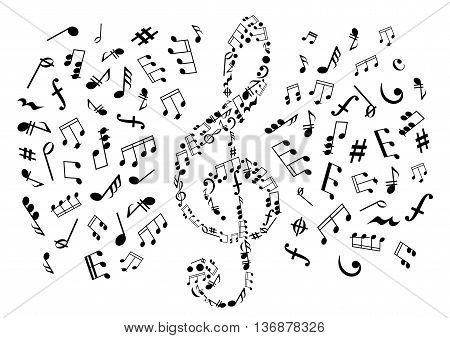Treble clef icon composed of musical symbols and marks, surrounded by notes and key signatures, rests and chords, bass clefs and dymamics signs. May be use as music, arts and entertainment themes design
