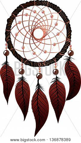 Hand-drawn native american dream catcher with osier, brown  feathers and  pink beads on a white background. Ethnic illustration, tribal