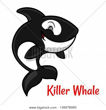 Black and white spotted killer whale cartoon character leaping out the water to breathe. Cute orca with happy smile for zoo mascot or t-shirt print design