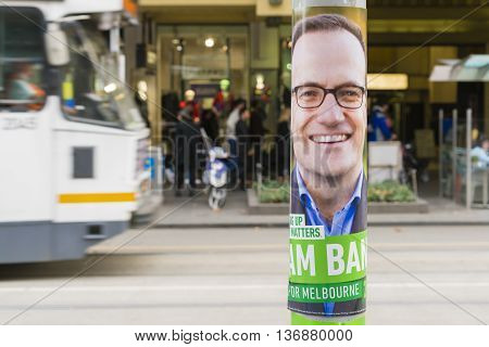Melbourne, Australia - Jul 2, 2016: View of election poster of a candidate from Greens party in Melbourne during Australian federal election 2016