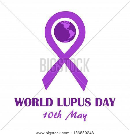 World lupus day banner template. Purple ribbon as disease awareness sign with earth globe. Vector illustration of illness prevention and treatment