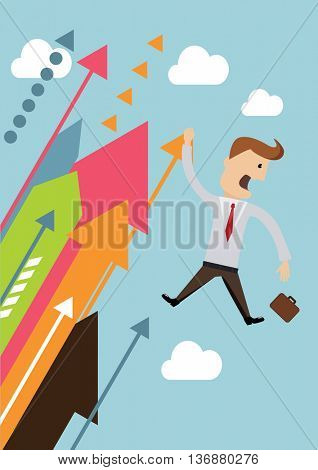 Businessman hold on graph up to high business concept vector illustration.