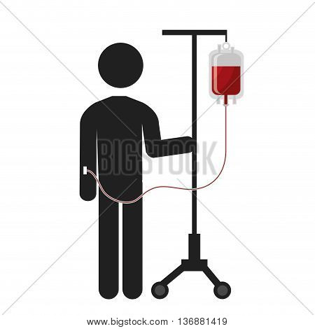 Patient Blood transfusion with bag pictogram, vector illustration