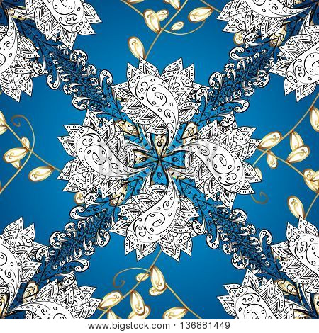 Vector texture with golden and whie floral doodles flowers on blue background with shadows.