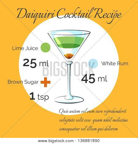 Daiquiri receipt. Daiquiri bartender cocktail vector receipt poster