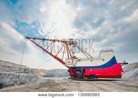 Dragline on open pit coal mine in Russia