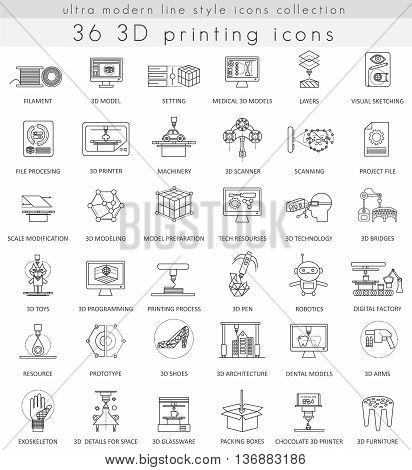 Vector 3D printing ultra modern outline line icons for web and apps