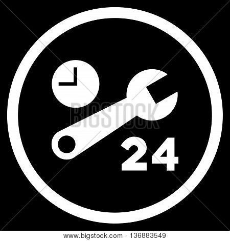 Nonstop Service Hours vector icon. Image style is a flat icon symbol inside a circle, white color, black background.