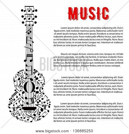 Musical concert poster or entertainment event announcement design with silhouette of acoustic guitar composed of musical notes and stave, treble and bass clefs