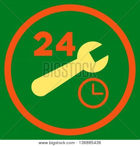 Nonstop Service Hours vector bicolor icon. Image style is a flat icon symbol inside a circle, orange and yellow colors, green background.