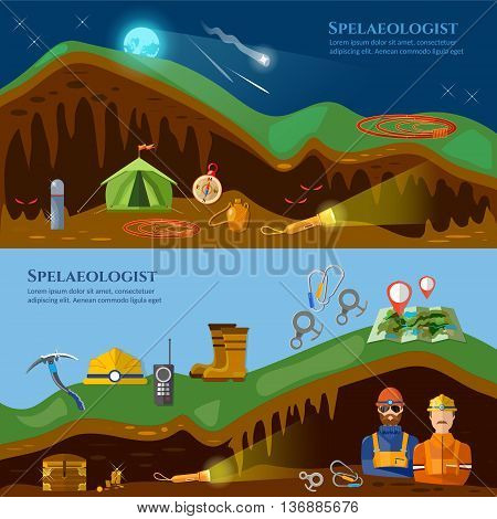 Speleology banners caves study underground mines climbers exploring caves vector illustration