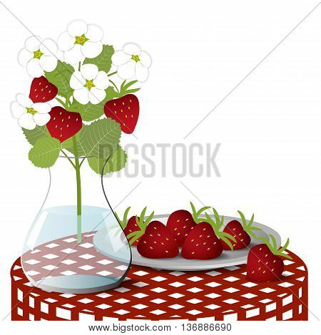 Plate with strawberries and a vase with a bouquet of blossoming strawberry on a checkered tablecloth, Isolated on white background, vector illustration